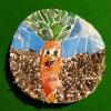 carotte sur bois mosaique