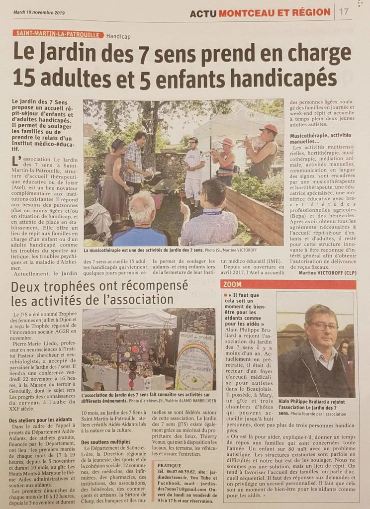 Article Journal de Saône et Loire - Portrait